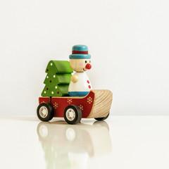 Christmas figure wind up toy sledge