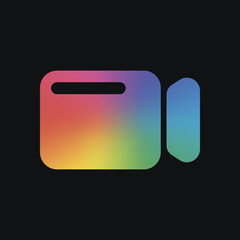 Simple video camera icon. Rainbow color and dark background