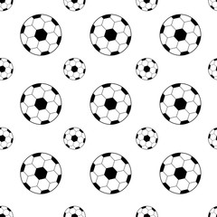 pattern with soccer balls black