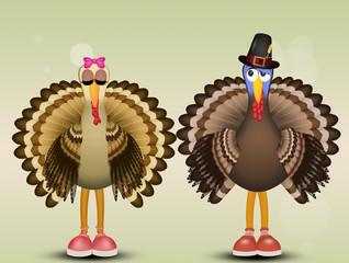 illustration of couple of turkeys
