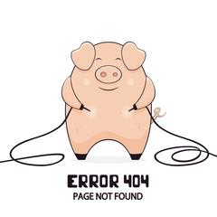 Cute Pig and Error 404