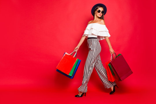 Full length body size portrait of trendy stylish elegant chic la