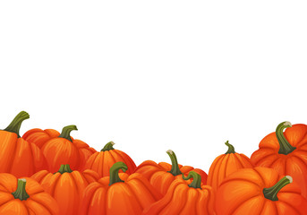 Background with uneven border of ripe orange pumpkins with green stems on the bottom.Autumn, harvest, thanksgiving, halloween design.