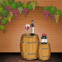 red wine on the barrel