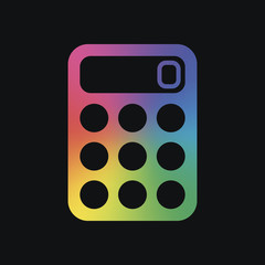 simple calculator icon. Rainbow color and dark background