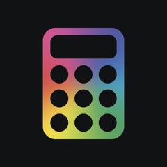 simple calculator icon. Rainbow color and dark background