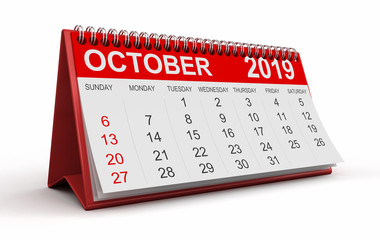 Calendar -  October 2019 (clipping path included)