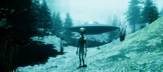 Extremely detailed and realistic high resolution 3d illustration of a Grey Alien with an UFO Flying Saucer landed in a forest