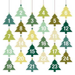 Hanging Trees Advent Calendar Green