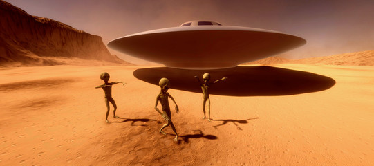 Foto auf Leinwand Braun Extremely detailed and realistic high resolution 3d illustration feauturing 3 dancing Grey Aliens on a Mars like planet