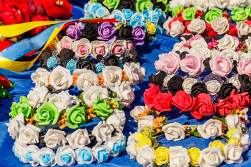 Different hair hoops with artificial flowers