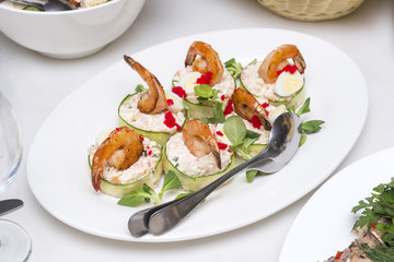 appetizer with shrimps on a plate