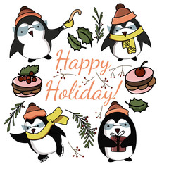 Cute cartoon funny penguins in vector