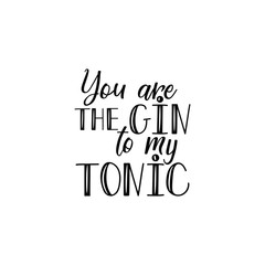 You are the gin to my tonic. Lettering. calligraphy vector illustration.