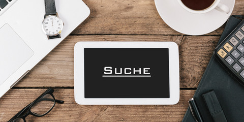 Suche geschrieben auf Tablet Computer Bildschirm
