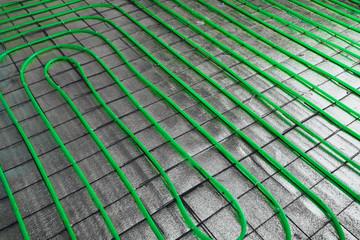underfloor heating green pipeline installation