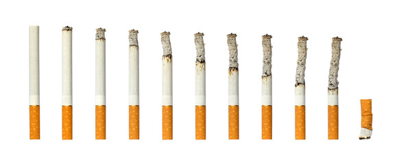 Cigarettes burning and extinguished cigarette butt on white isolated background.