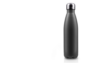Black-matte, empty stainless thermo water bottle close-up isolated on white background. Studio photography