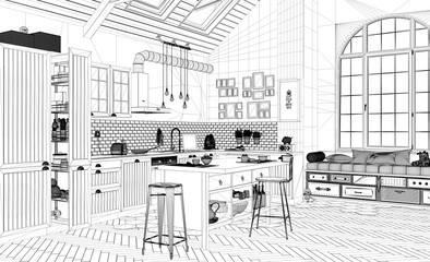 Interior design project, black and white ink sketch, architecture blueprint showing contemporary scandinavian kitchen