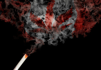 the smoke of a joint creates the flag of canada with a marjiuana leaf in the middle. canada is the first of the g7 group to legalize marijuana for recreational purposes