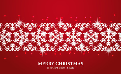 Christmas template with illustration of white shiny snowflake