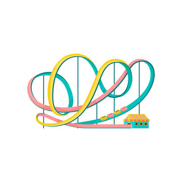 Roller coaster, amusement park element vector Illustration on a white background