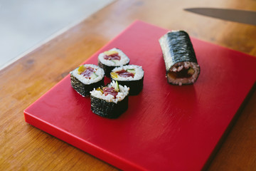 Served delicious sushi on board