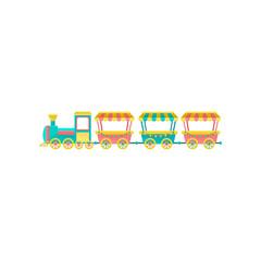 Train carousel, amusement park element vector Illustration on a white background