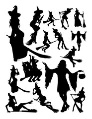 Halloween witch silhouette. Good use for symbol, logo, web icon, mascot, sign, or any design you want.