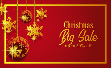 Christmas big sale banner template with illustration of  golden ball snowflake decoration