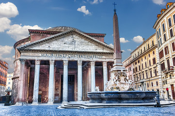 View on the Pantheon and the Fountain in Piazza della Rotonda