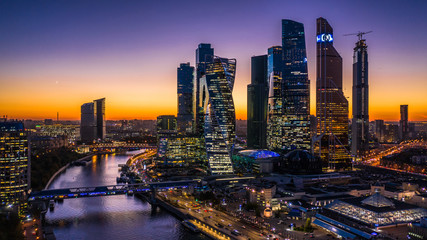Poster Moscow Aerial view sunset over Moscow City district and Moscow river, Russia.
