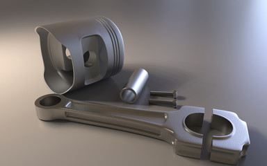Pistons on background. Car parts. 3D rendering.