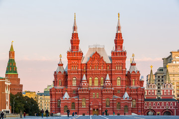 The State Historical Museum on the Red Square in Moscow, Russia. The Red Square is the main tourist attraction of Moscow.