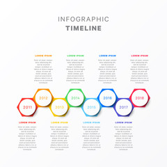 horizontal timeline with eight hexagonal elements, circular year indication and text boxes. simple process diagram for brochure, banner, annual report