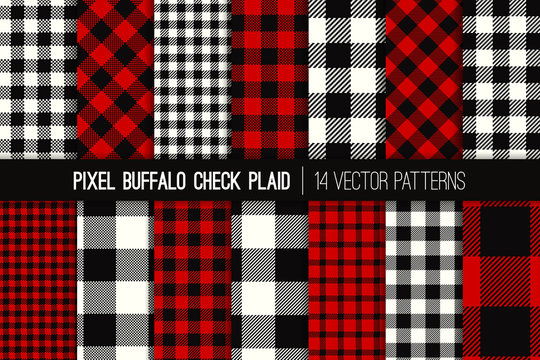 Lumberjack Buffalo Check Plaid Vector Patterns. Red, Black and White Christmas Backgrounds. Hipster Flannel Shirt Fabric Textures. Repeating Pattern Tile Swatches Included.