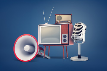 3d rendering of collection of several pieces of vintage equipment: a TV, a radio set, a microphone and a megaphone.