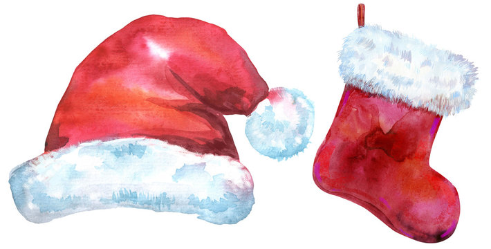 Christmas Santa red hat and sock for gift, watercolor illustration