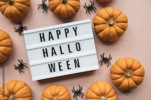 Happy halloween lightbox message with black scary bats