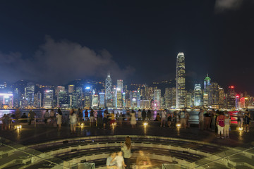 Victoria harbor of Hong Kong city at night