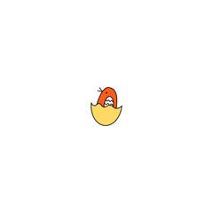 Vector illustration. small baby bird. Inshell chocken.