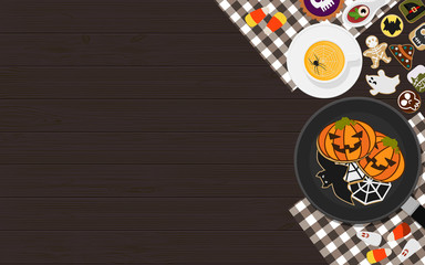 Pumpkin soup, pancakes, cookies and horror food recipes decoration on wooden rustic table, top view, flat lay with space for text. Halloween greeting card vector illustration.