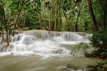 Papiers peints Kaki Huai Mae Khamin waterfall in the rainy season with turbid flowing water,In province Kanchanaburi Thailand