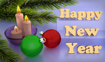 Happy New Year and Merry Christmas greeting card with candles and Christmas balls. 3D rendering