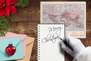 Santa Claus writes christmas greeting