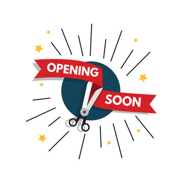 Opening soon with scissors and red ribbon illustration