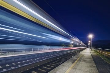 Light trails of passenger train