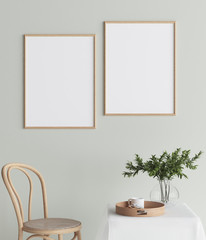 Mock up poster in interior background, Scandinavian style, 3D render