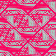 Trendy tribal hand drawn batik motif seamless pattern vector. Hand made creative drawing with geometric ancient colorful illustration square background. Ready for interior and fashion print.