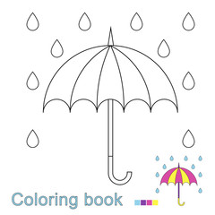 illustration of ubrella and raindrops for coloring book. Simple educational game for kids